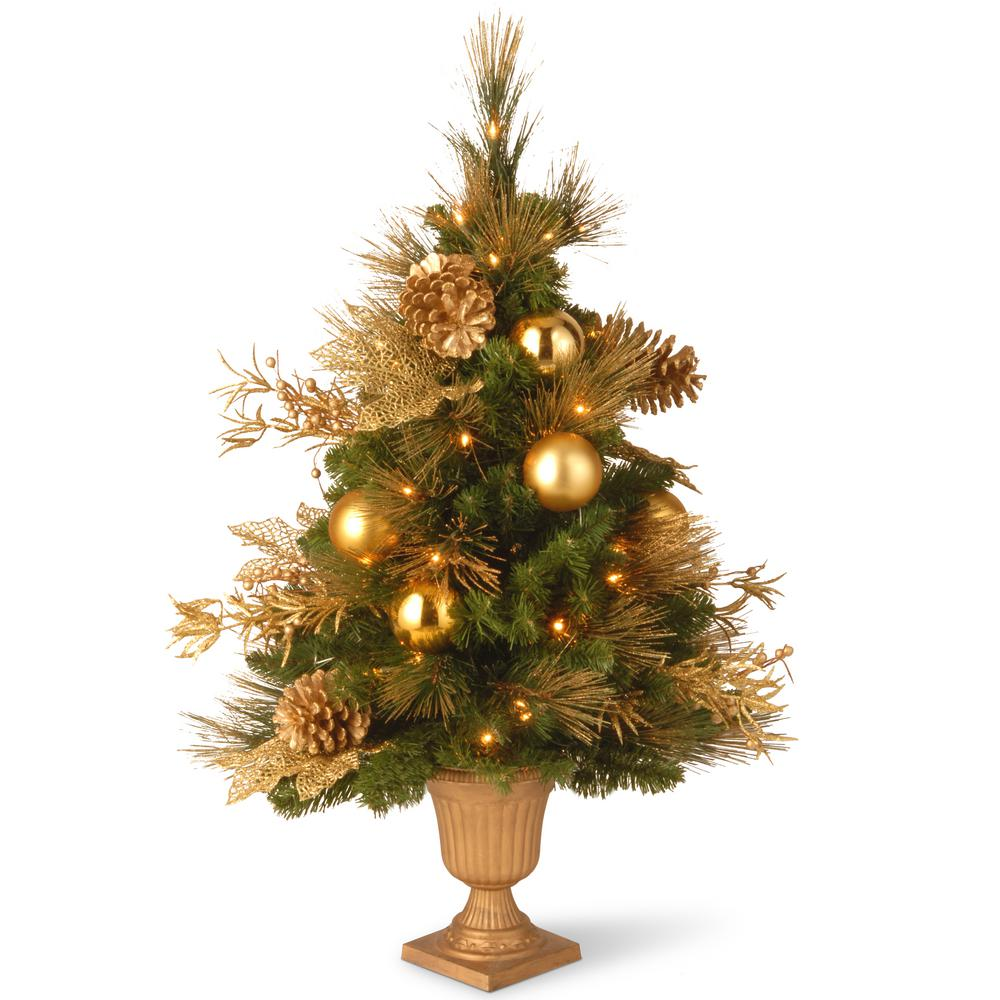 national tree company 3 ft decorative collection elegance entrance artificial christmas tree with clear lights - 3 Ft Christmas Tree