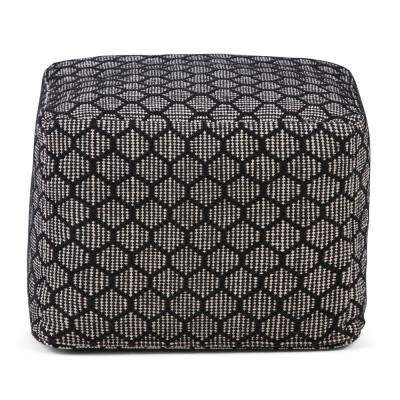Simpson Patterned Black and Natural Square Pouf