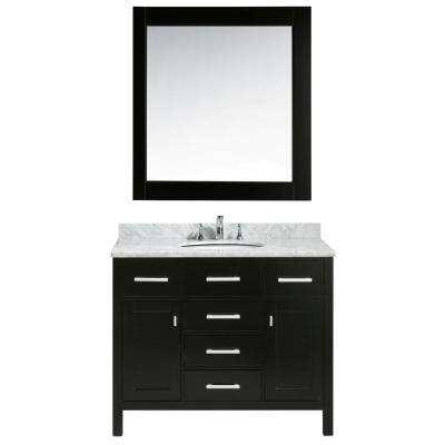 London 42 in. W x 22 in. D x 35.5 in. H Vanity in Espresso with Marble Vanity Top in Carrara White, Basin and Mirror