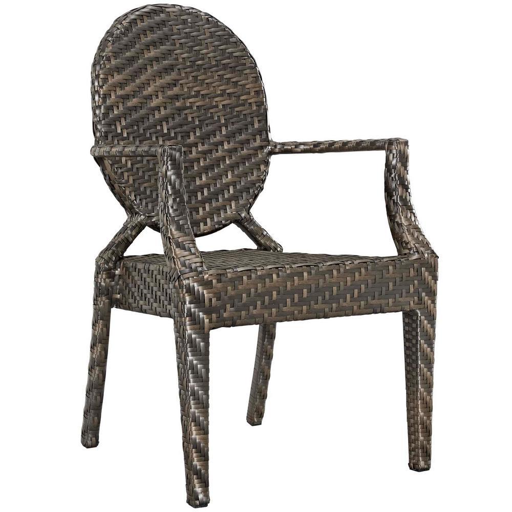 Casper Aluminum Outdoor Patio Dining Chair in Brown