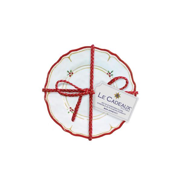 Le Cadeaux Natale Red Appetizer Plates (Set of 4)