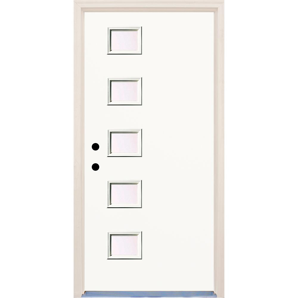 Builders Choice 36 In X 80 In Classic Right Hand 5 Lite Clear Glass Painted Fiberglass Prehung