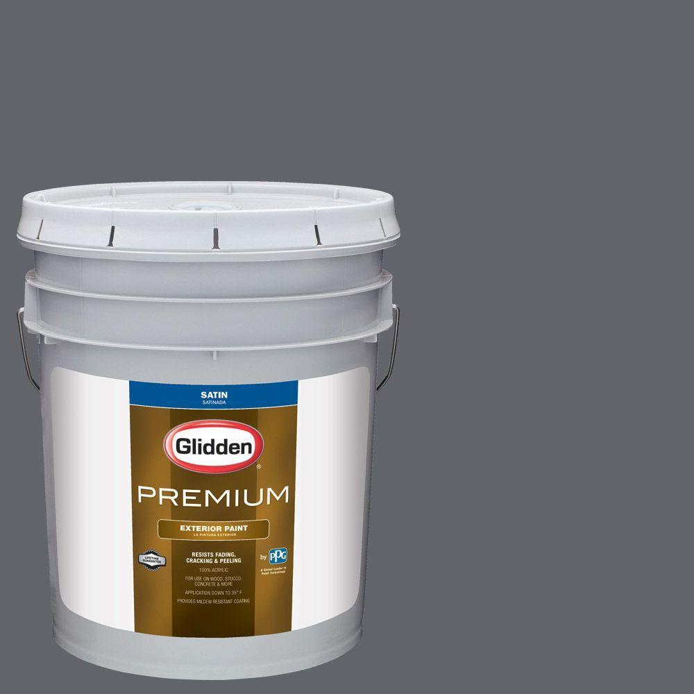 Glidden Premium 5-gal. #HDGCN39D Dark Grey Silk Satin Latex Exterior ...