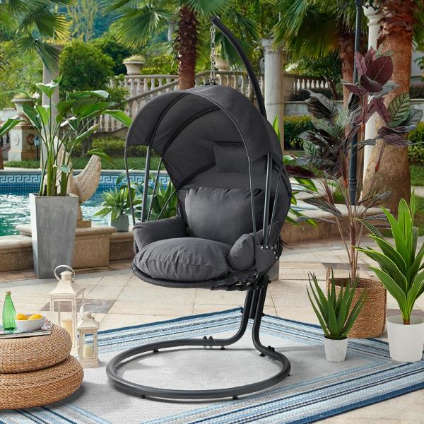 Barton Gray Patio Hanging Egg Swing Chair With Uv Resistant Polyester Fabric Canopy Cover And Powder Coated Steel Frame Stand 93910 The Home Depot