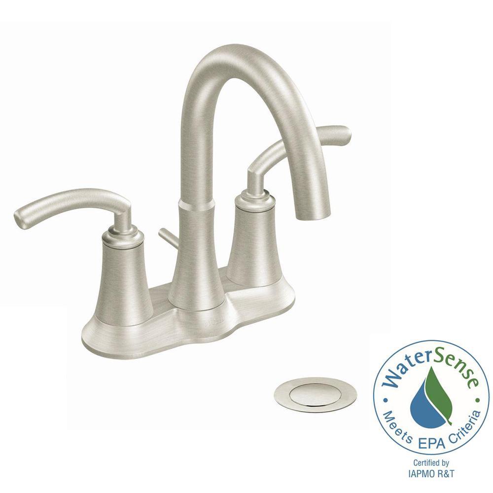 MOEN Icon 4 in. Centerset 2-Handle Bathroom Faucet in Brushed Nickel