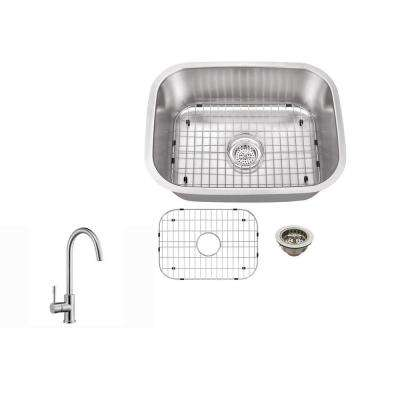 Undermount 23 in. 18-Gauge Stainless Steel Bar Sink in Brushed Stainless with Gooseneck Kitchen Faucet
