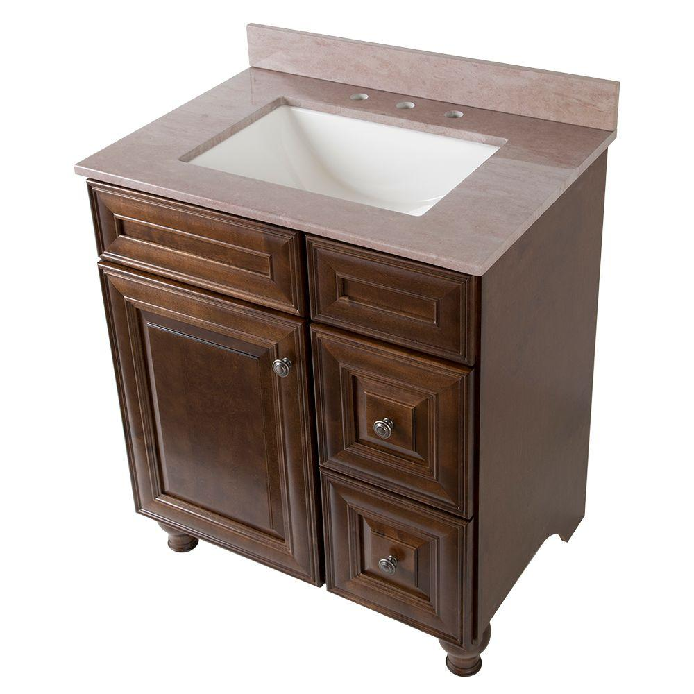 Home Decorators Collection Home Decorators Collection Templin 31 in. Vanity in Coffee with Stone Effects Vanity Top in Kaiser Gray