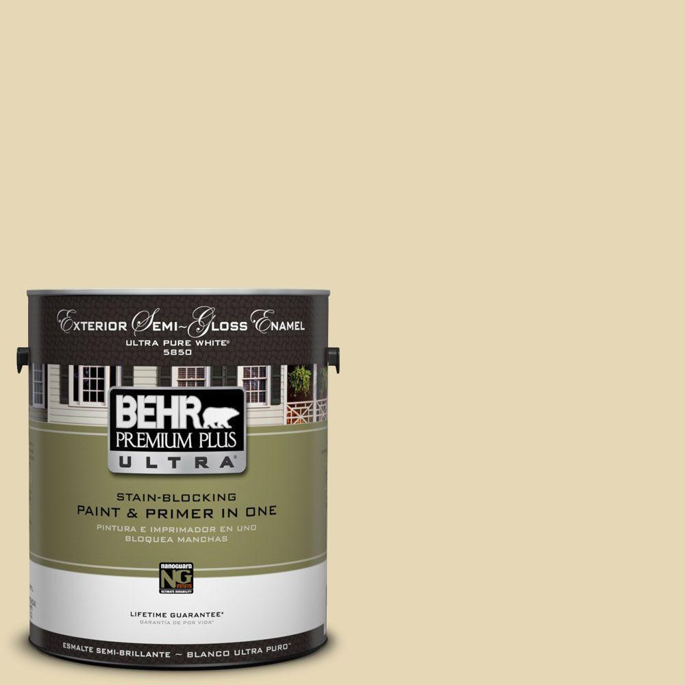 BEHR Premium Plus Ultra 1-Gal. #UL180-12 Lemon Balm Semi-Gloss Enamel Exterior Paint