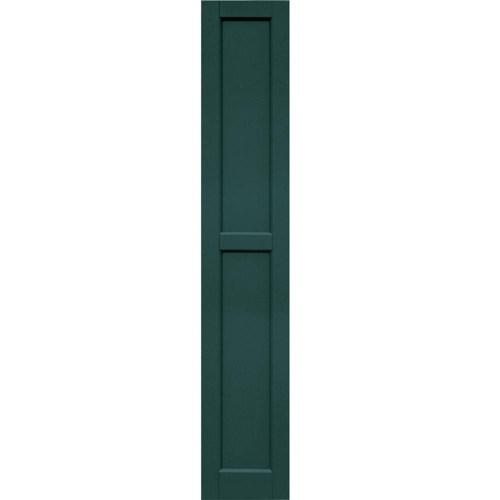 Winworks Wood Composite 12 in. x 68 in. Contemporary Flat Panel Shutters Pair #633 Forest Green