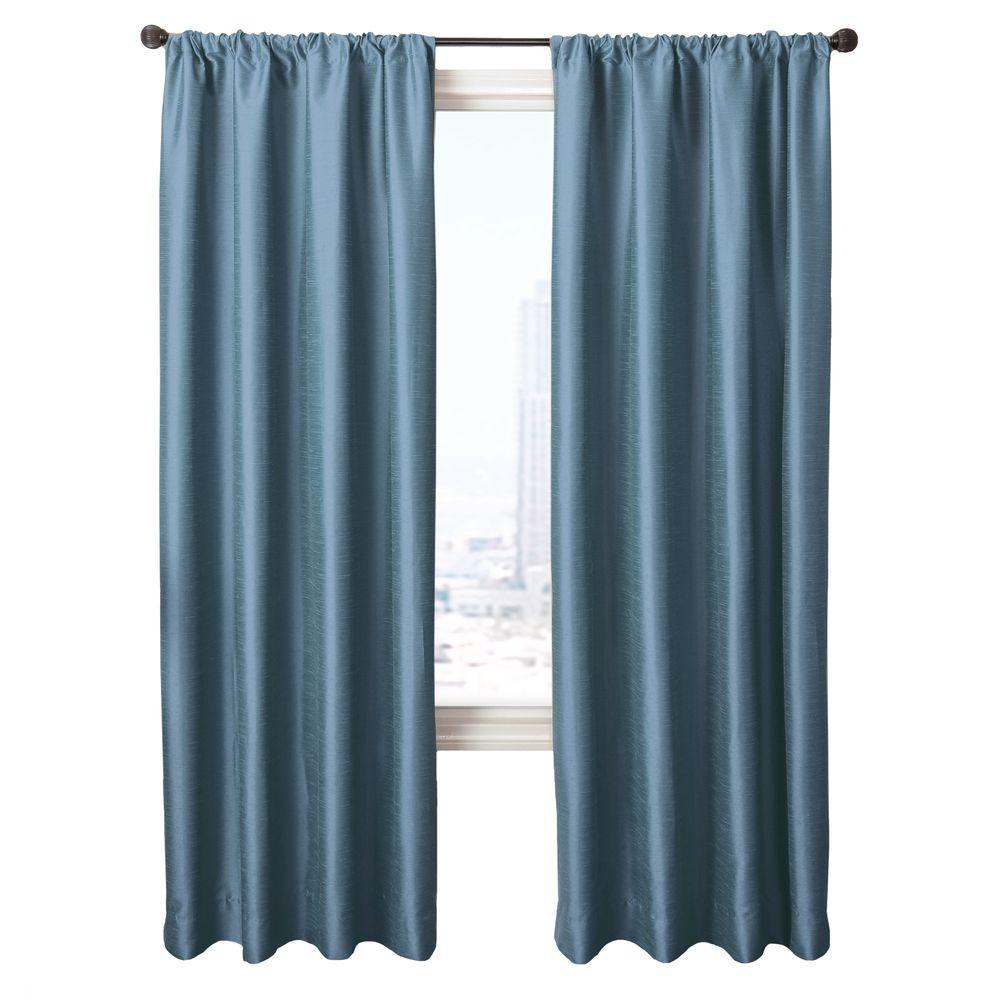 Home Decorators Collection Sheer Antique Blue Cassanova Rod Pocket Curtain - 54 in.W x 96 in. L