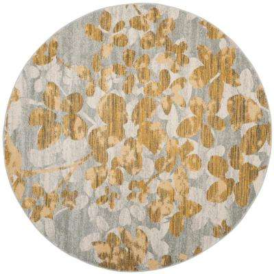 Evoke Gray/Gold 7 ft. x 7 ft. Round Area Rug