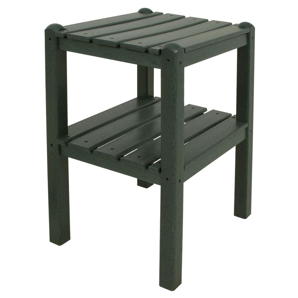 POLYWOOD Green 2-Shelf Patio Side Table