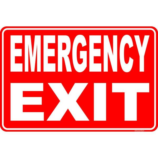 8 in. x 12 in. Plastic Emergency Exit Egress Sign