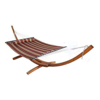 11-3/4 ft. Quilted 2-Person Hammock with 13 ft. Wooden Curved Arc Stand in Red Stripe