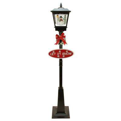 70.75 in. Christmas Black Lighted Musical Snowman Vertical Snowing Street Lamp