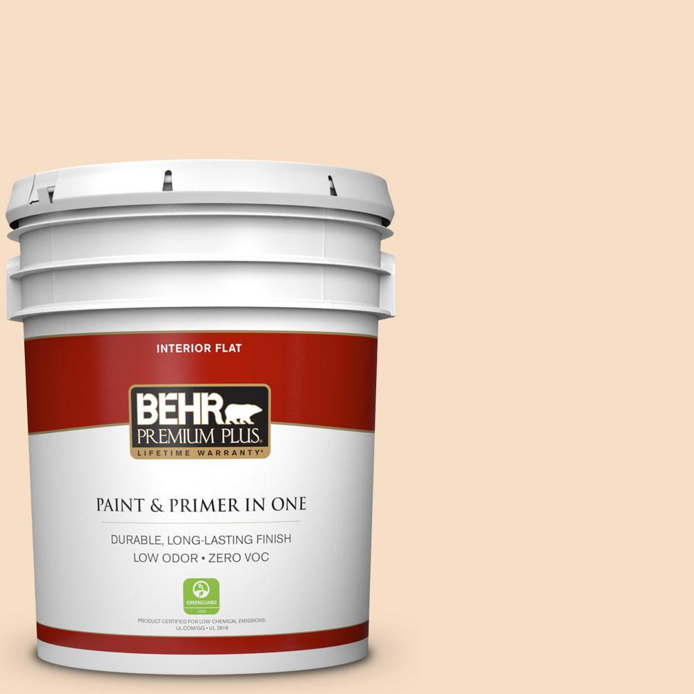 BEHR Premium Plus 5-gal. #HDC-SP14-3 Faint Peach Zero VOC Flat Interior Paint
