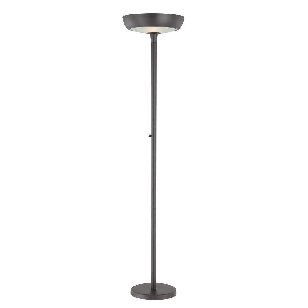Illumine 2-Light Torchiere Lamp Black Finish-DISCONTINUED