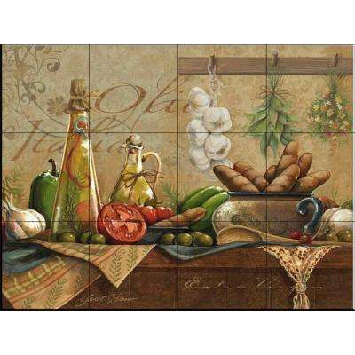 Olio d'Olive 24 in. x 18 in. Ceramic Mural Wall Tile