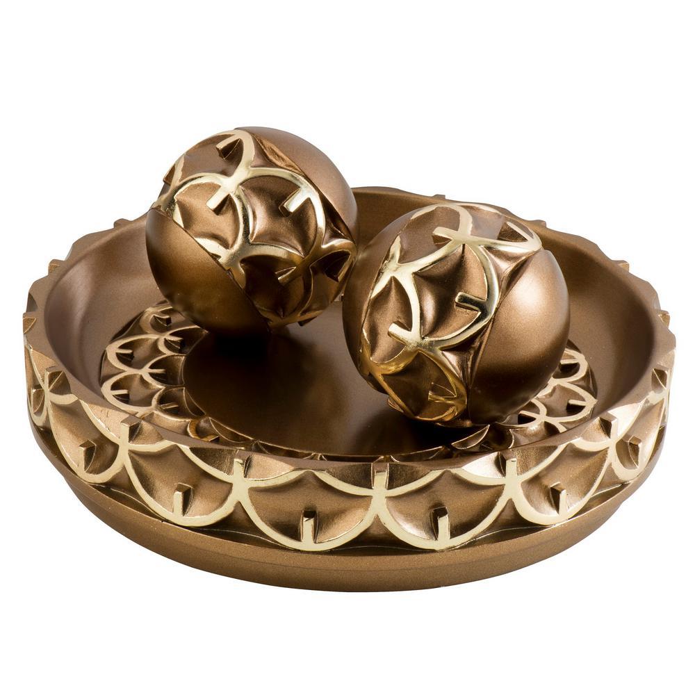 Bronze Mystic Owl Polyresin Decorative Bowl With Spheres
