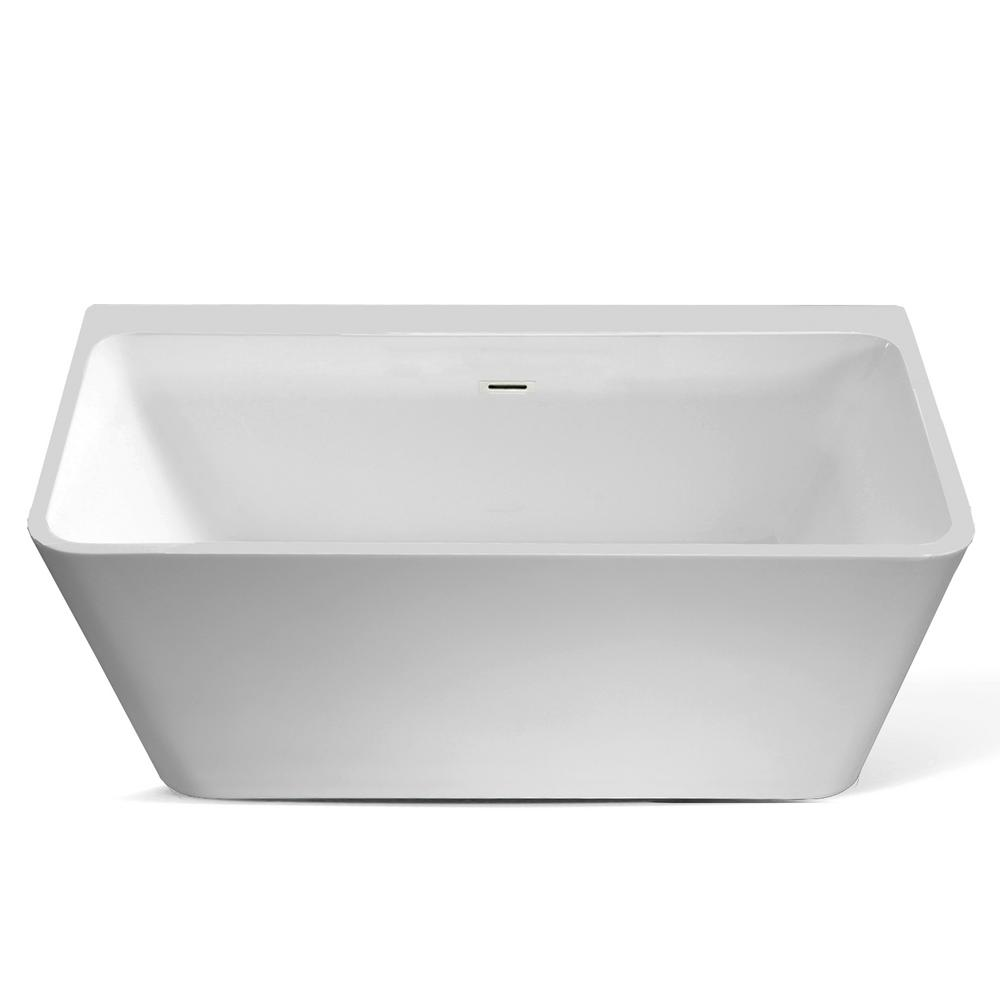Seamless One Piece White Freestanding Tub With Square Deck
