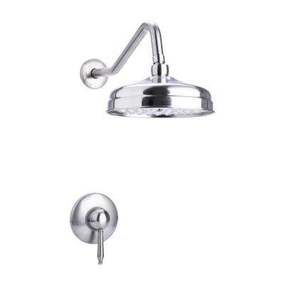 Traditional Single Handle 1-Spray Round Shower Faucet in Brushed Nickel Valve Included