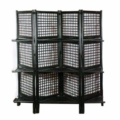 5.95 ft. Black Finely Crafted Foldable Bamboo Screen
