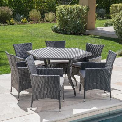 Chapman Grey 7-Piece Polyethylene Wicker Outdoor Dining Set with Silver Cushions