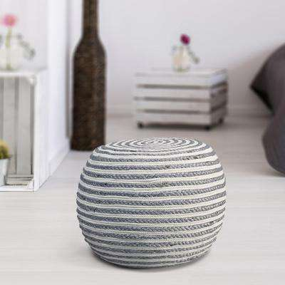 Jute LR99704-GYW2014 Gray and White Indoor Ottoman