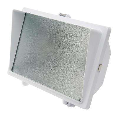 500-Watt White Outdoor Security Flood Light with Halogen Bulb