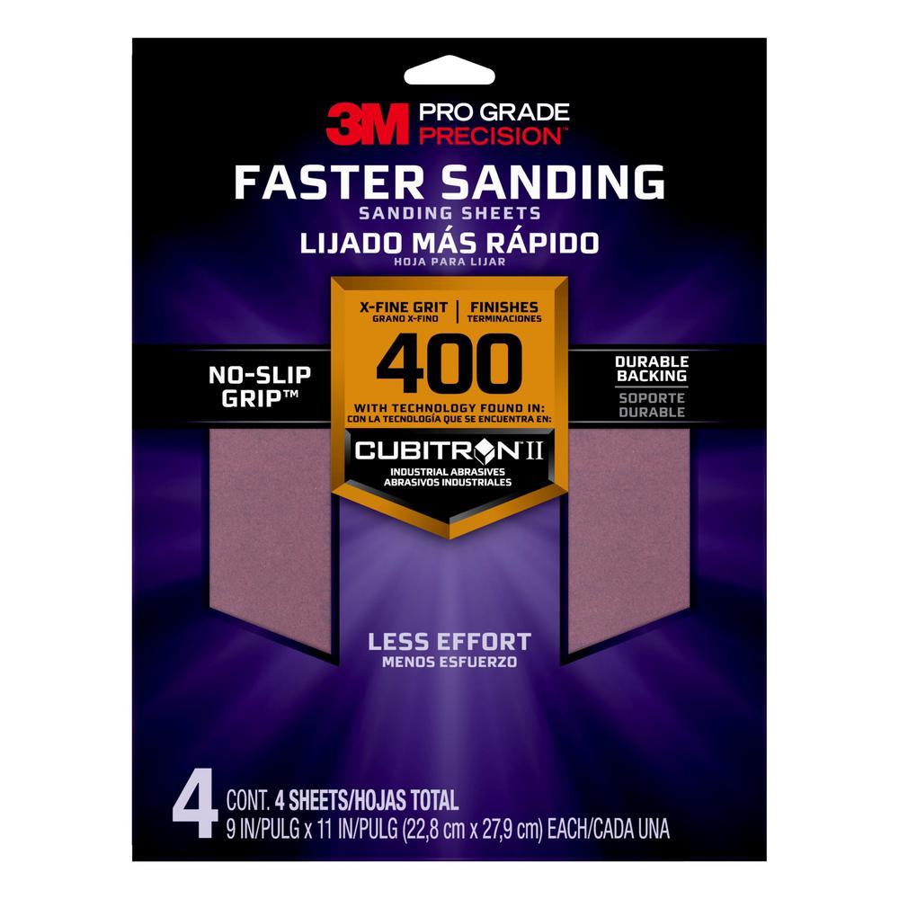 3M Pro Grade Precision 9 in. x 11 in. 400 Grit X-Fine Advanced Sanding Sheets (4-Pack)