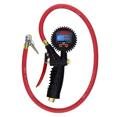 Pro Digital Pistol Grip Inflator Gauge with 36 in. Hose and Ball Chuck with Clip