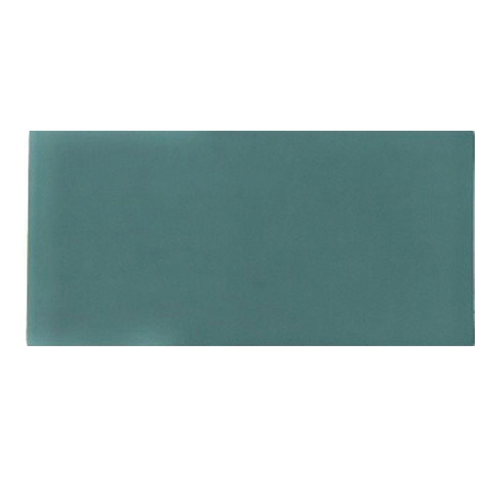 Splashback Tile Contempo Turquoise Frosted Glass Mosaic Floor and Wall Tile - 3 in. x 6 in. x 8 mm Tile Sample