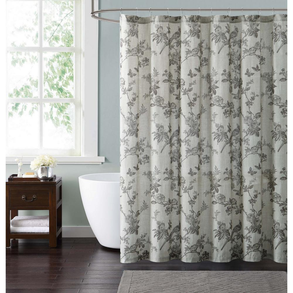 Style 212 lisborn brown 72 in cream and brown shower for Shower curtain savers