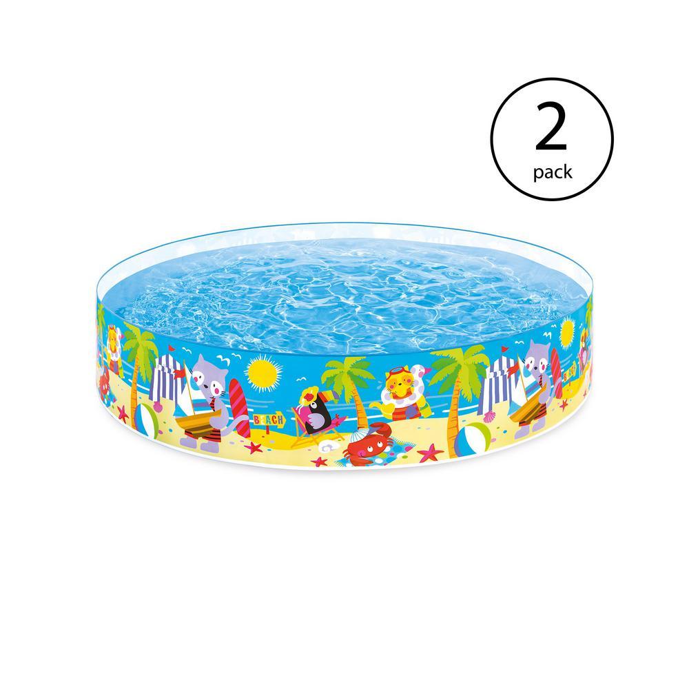 8 ft. W x 18 in. H Instant SnapSet Kiddie Seahorse Buddies Kids Swimming Pool (2-Pack)