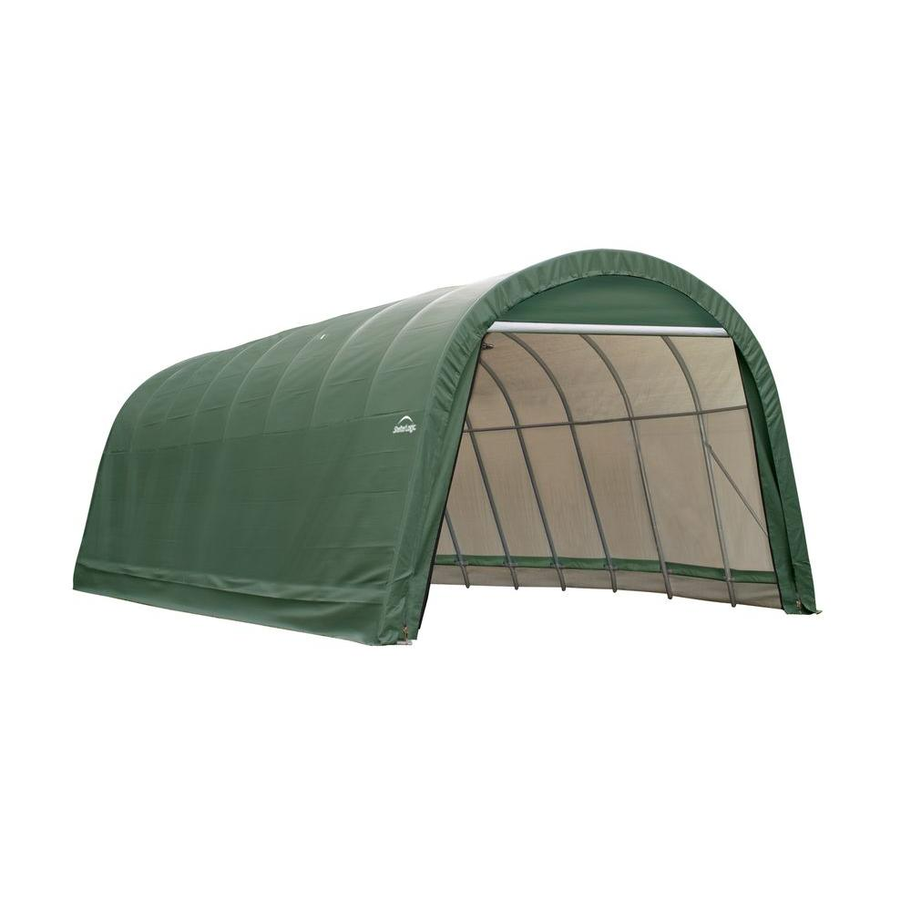 ShelterLogic 14 ft. x 32 ft. x 12 ft. Green Cover Round Style Shelter - DISCONTINUED
