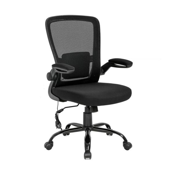 Easy Mesh Adjustable Height Fixed Black Computer Chair with Armrest