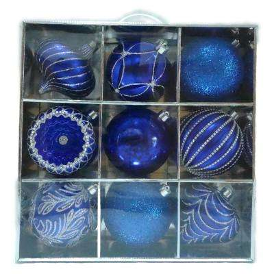 130 mm Ornament Set in Blue Silver (9-Count)