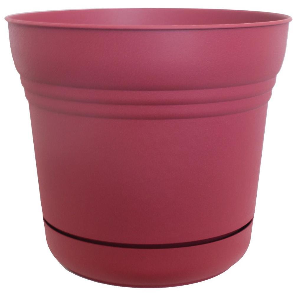 10 in. Plastic Union Red Saturn Planter