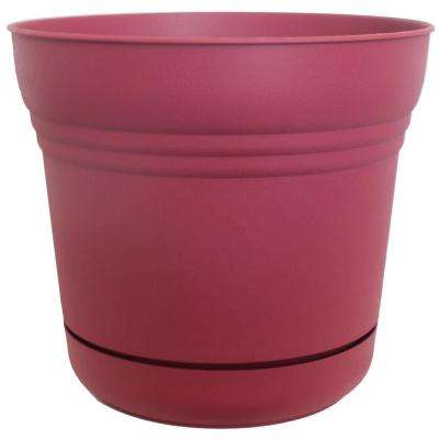 12 in. Plastic Saturn Union Red Planter