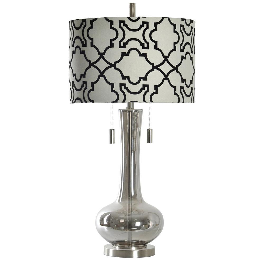35 in. Plated Smoke Table Lamp with Designer Print Hardback Fabric Shade