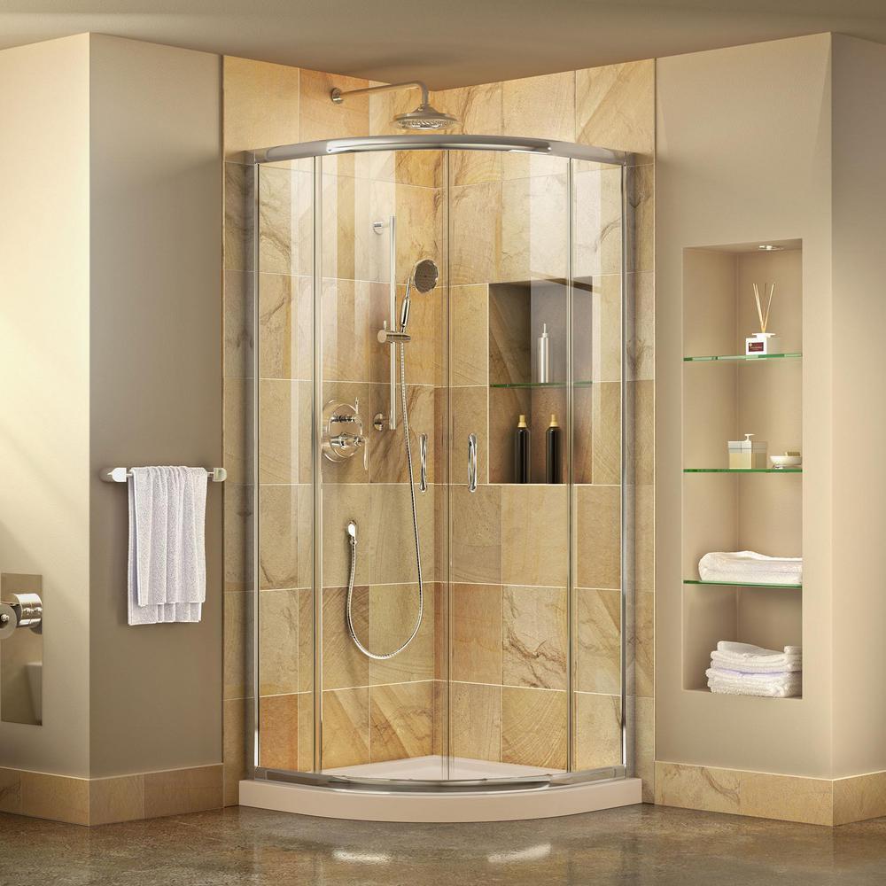 Prime 33 in. x 33 in. x 74.75 in. H Corner Semi-Frameless Sliding Shower Enclosure in Chrome with Shower Base in Biscuit