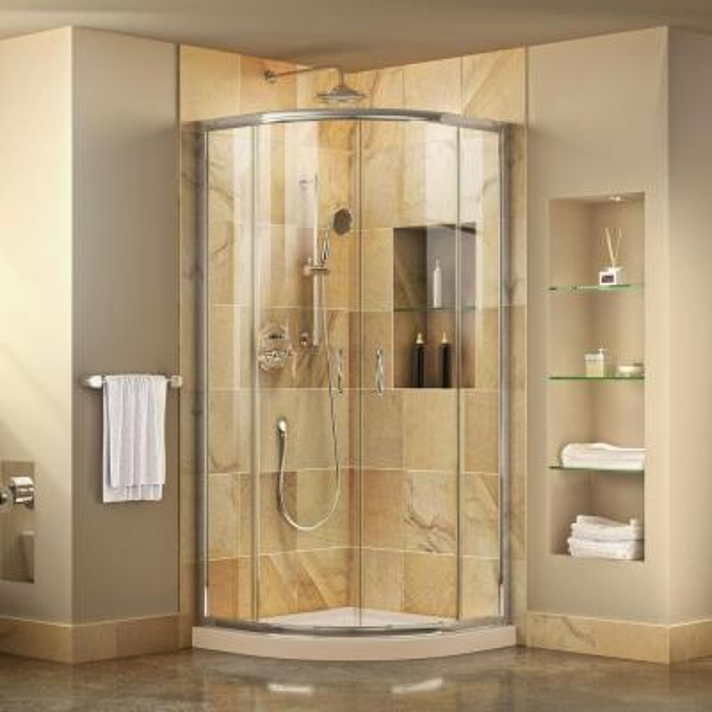 Prime 38 in. x 38 in. x 74.75 in. H Corner Semi-Frameless Sliding Shower Enclosure in Chrome with Shower Base in Biscuit