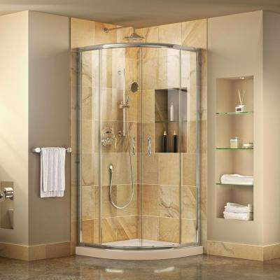 Prime 34-3/8 in. x 72 in. Frameless Sliding Shower Enclosure in Chrome with SlimLine 36 in. x 36 in. Base in Biscuit