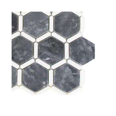 Ambrosia Dark Bardiglio and Thassos Stone Mosaic Floor and Wall Tile - 6 in. x 6 in. Tile Sample