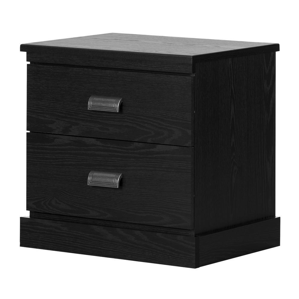 South Shore Gloria 2-Drawer Black Nightstand 11933
