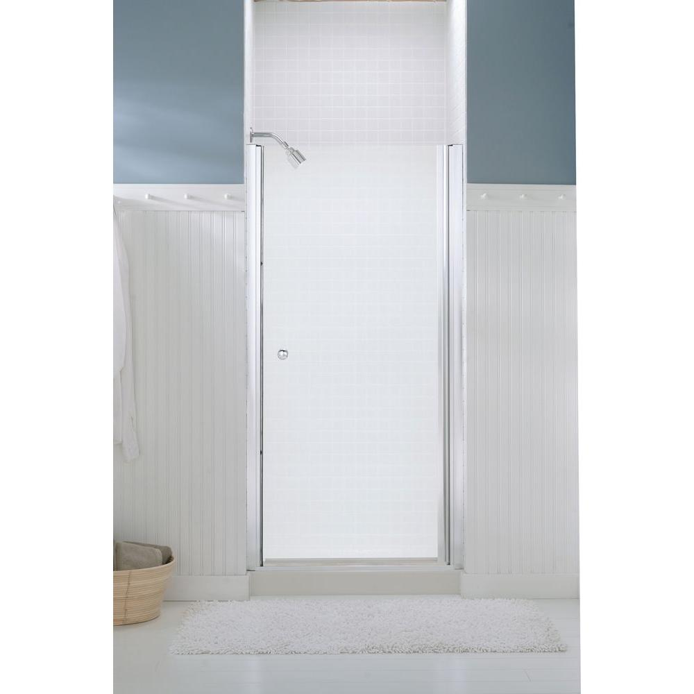 STERLING Finesse 32-3/4 in. x 65-1/2 in. Semi-Frameless Pivot Shower Door in Silver with Handle