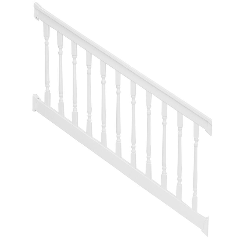 Delray 36 in. x 96 in. Vinyl White Colonial Stair Railing
