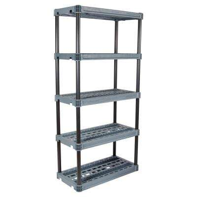 18 in. x 36 in. 5-Shelf Heavy-Duty Black and Grey Shelving Unit