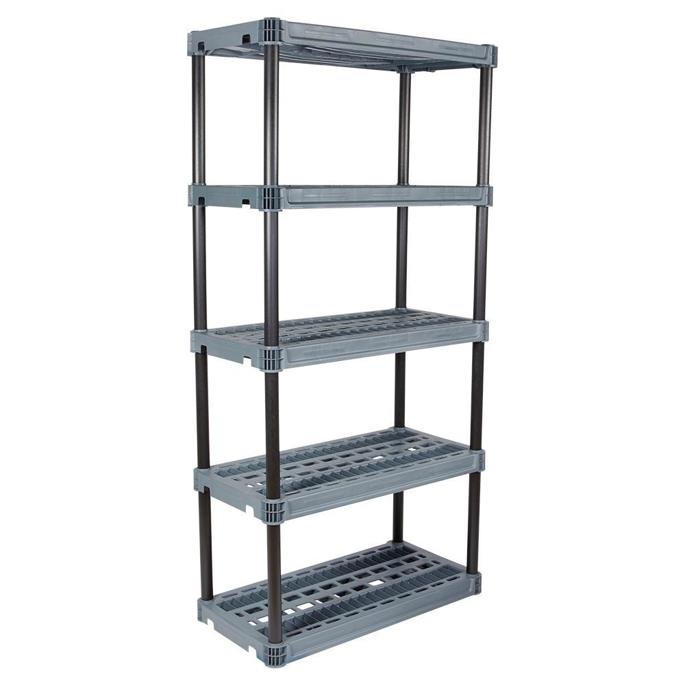 18 in. x 36 in. 5-Shelf Heavy-Duty Black and Grey Shelving Unit