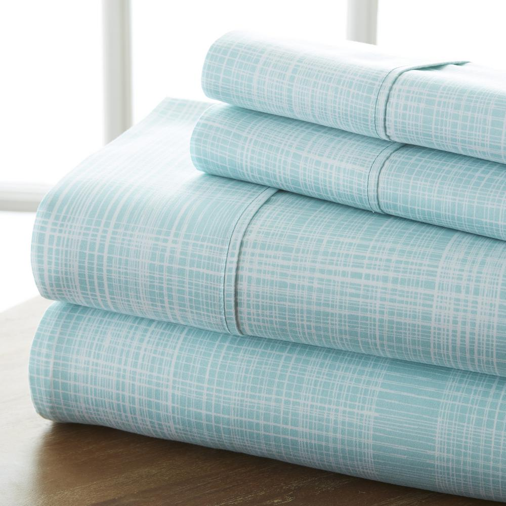 Elegant Becky Cameron Thatch Patterned 4 Piece Aqua Queen Performance Bed Sheet Set